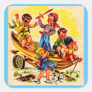 kids playing pirate square sticker