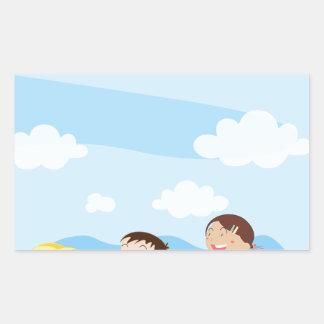 Kids playing rectangular sticker