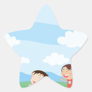 Kids playing star sticker