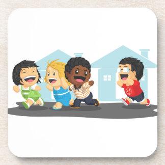 Kids Playing Tag Beverage Coaster