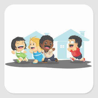 Kids Playing Tag Square Sticker