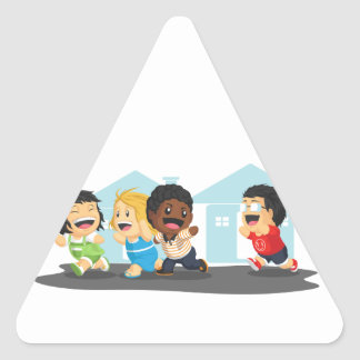 Kids Playing Tag Triangle Sticker