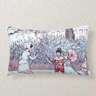 Kids playing vintage art pillows
