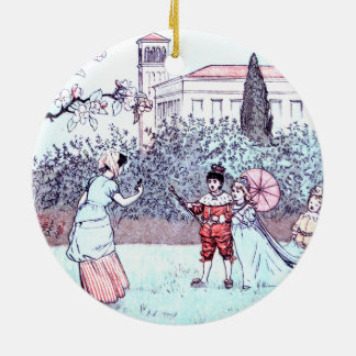 Kids playing vintage art Double-Sided ceramic round christmas ornament