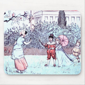 Kids playing vintage art mouse pad