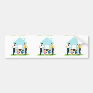 Kids Playing with Father & Mother Bumper Sticker