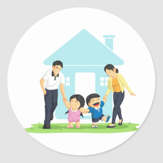 Kids Playing with Father & Mother Round Sticker