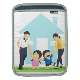 Kids Playing with Father Mother Sleeve For iPads