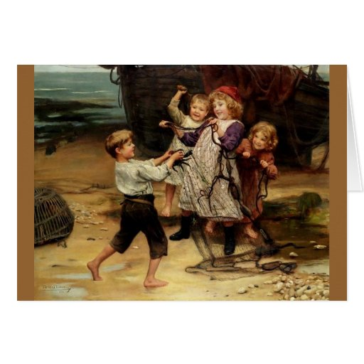 Kids Playing with fishing net beach painting Cards