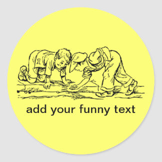 Kids Playing with Marbles - Add Your Text Round Sticker