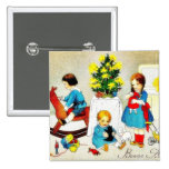 Kids playing with toys and christmas tree pinback buttons