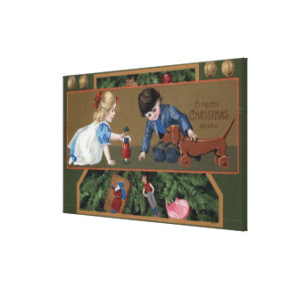 Kids Playing with Toys Stretched Canvas Prints