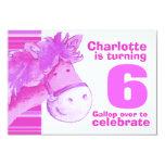 """Kids pony 6th birthday pink white birthday invite 3.5"""" x 5"""" invitation card"""