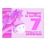 Kids pony treking 7 birthday pink birthday invite 13 cm x 18 cm invitation card
