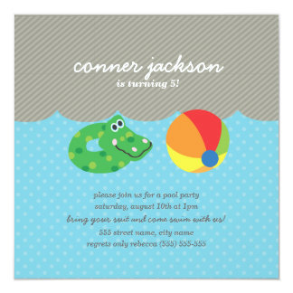 Kids Pool Party Birthday Invite