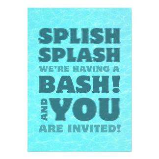 Kids Pool Party Splish Splash Invitation