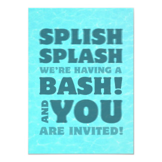 Kids Pool Party Splish Splash Invitation