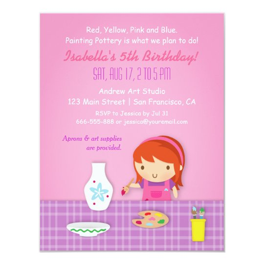 Kids Pottery Painting Arts Birthday Party Card