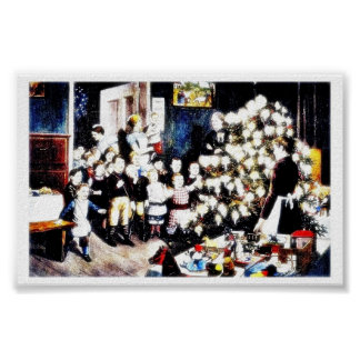 Kids priests celebrating christmas in the house print