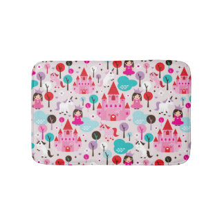 kids princess castle and unicorn bath mat