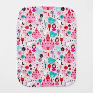 kids princess castle and unicorn burp cloth