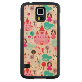 kids princess castle and unicorn carved maple galaxy s5 case