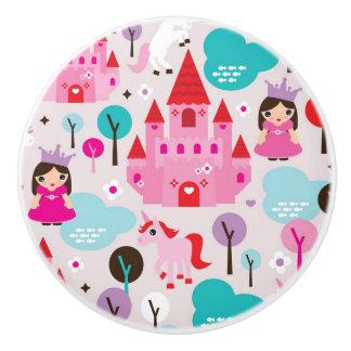 kids princess castle and unicorn ceramic knob