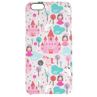 kids princess castle and unicorn clear iPhone 6 plus case
