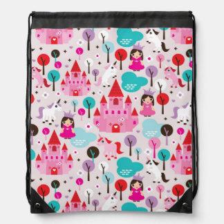 kids princess castle and unicorn drawstring bag