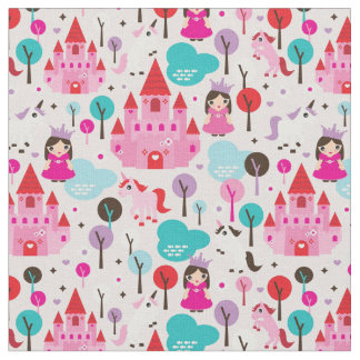 kids princess castle and unicorn fabric