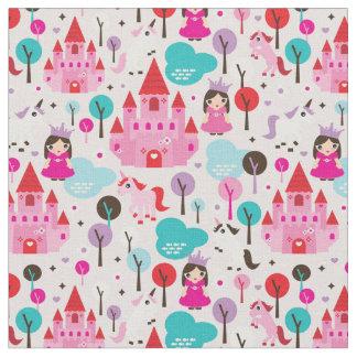 kids princess castle and unicorn fabric
