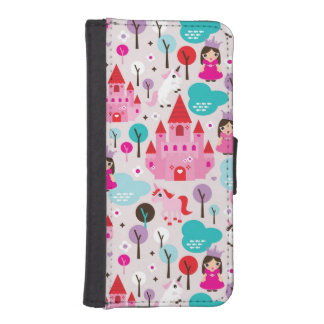 kids princess castle and unicorn iPhone SE/5/5s wallet case