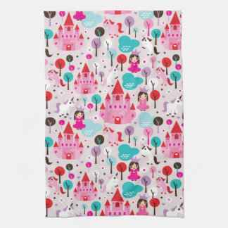 kids princess castle and unicorn kitchen towels