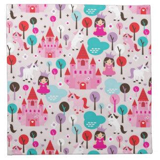 kids princess castle and unicorn napkin