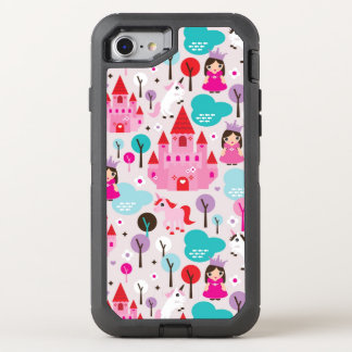 kids princess castle and unicorn OtterBox defender iPhone 8/7 case