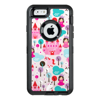 kids princess castle and unicorn OtterBox defender iPhone case