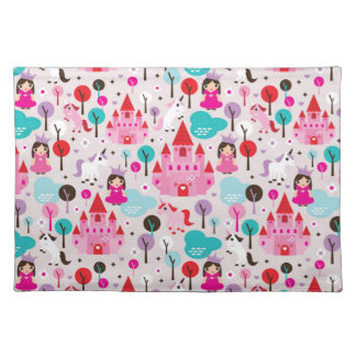 kids princess castle and unicorn placemat