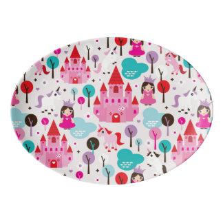 kids princess castle and unicorn porcelain serving platter