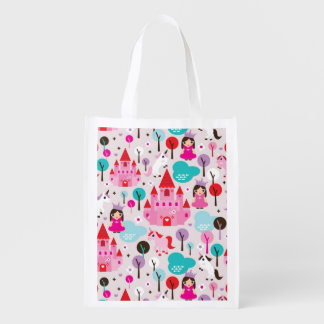kids princess castle and unicorn reusable grocery bag