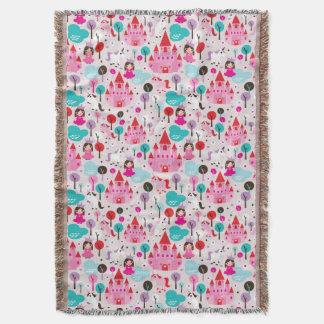 kids princess castle and unicorn throw blanket