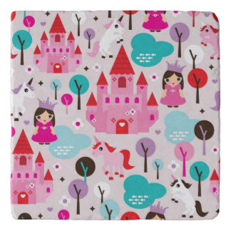kids princess castle and unicorn trivet