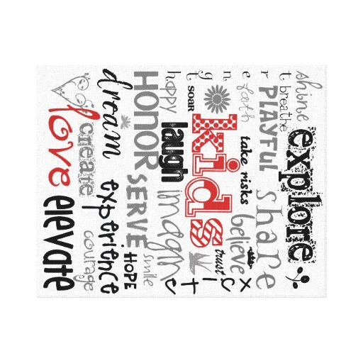 Kids Printable Canvas in Red Gallery Wrapped Canvas