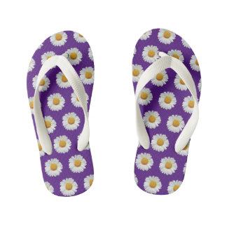 Kids Purple flower printed slim-Straps Sandals Flip Flops
