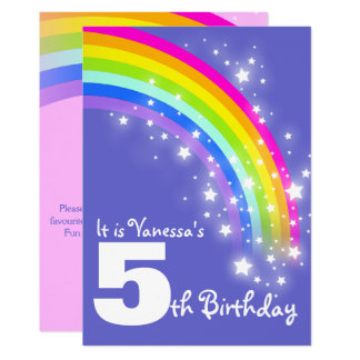 Kids purple pink rainbow 5th birthday invite