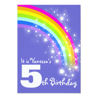 "Kids purple pink rainbow 5th birthday invite 5"" x 7"" invitation card"