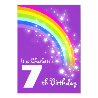Kids purple rainbow 7th birthday invite