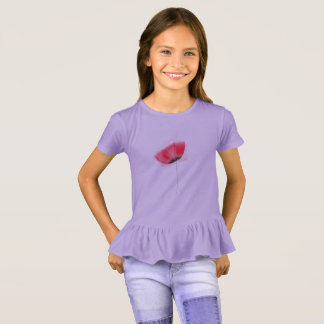 Kids purple t-shirt with Red Poppy