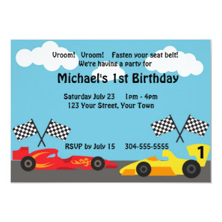 "Kids Racing Birthday Party 5"" X 7"" Invitation Card"
