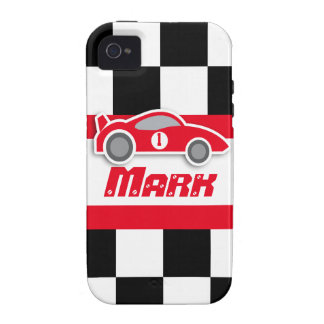 Kids racing red sports car named iphone case Case-Mate iPhone 4 covers