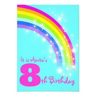 Kids rainbow 8th birthday aqua birthday invite